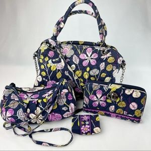 Vera Bradley Floral/Bird Handbag Set of 4